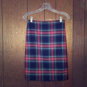 JCrew Plaid wool blend pencil skirt